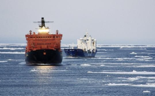 A pair of German merchant ships traverse the Northeast Passage in 2009, arriving in Siberia from South Korea by traveling around Russia's Arctic coast line. Melting ice made the journey possible.