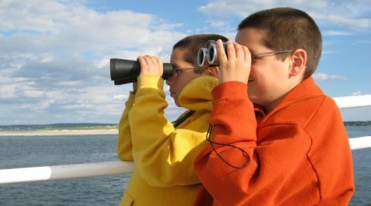 Liam and Aidan Greenlee observe a humpback whale.