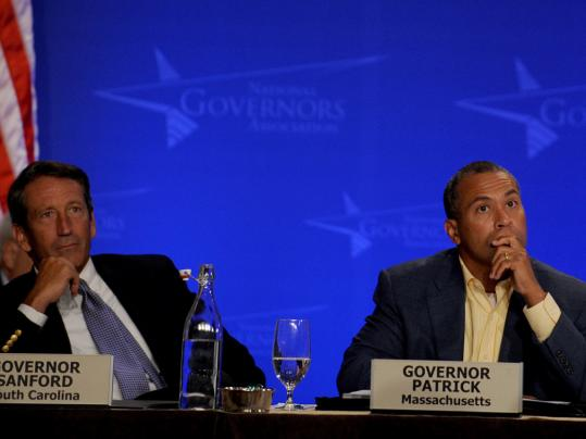 Governors Mark Sanford of South Carolina (left) and Deval Patrick attended the gathering in Boston, as well as Jan Brewer of Arizona and Luis G. Fortuno of Puerto Rico, below.