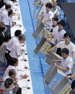 Tokyo officials made sure ballot boxes were empty yesterday. Exit polls showed the ruling party would end up with 106 to 110 seats in the 242-member upper house of parliament.