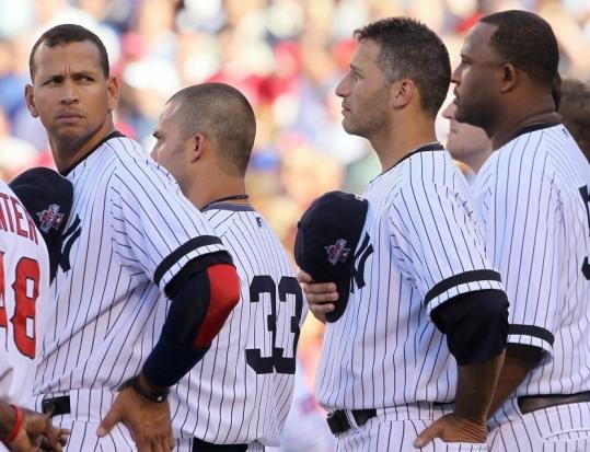 Alex Rodriguez (left) and the Yankees All-Star contingent had heavy hearts during a pregame moment for George Steinbrenner.