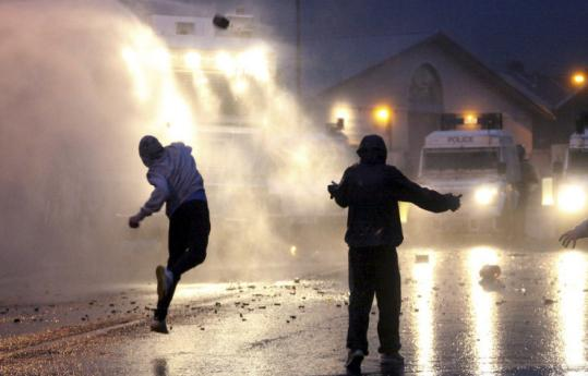 Irish nationalist rioters attacked police Tuesday night in the working-class Catholic area of Belfast. Some 83 police officers have been wounded during three nights of street clashes, sparked by the province&#8217;s annual parades by the British Protestant majority.