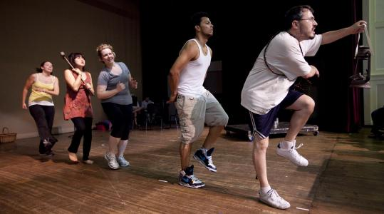 """Dwarves — (from left) Becca A. Lewis, Yurie Collins, Nicole Prefontaine, Raymond Ramirez, and Mark VanDerzee — in rehearsal for """"Grimm.''"""