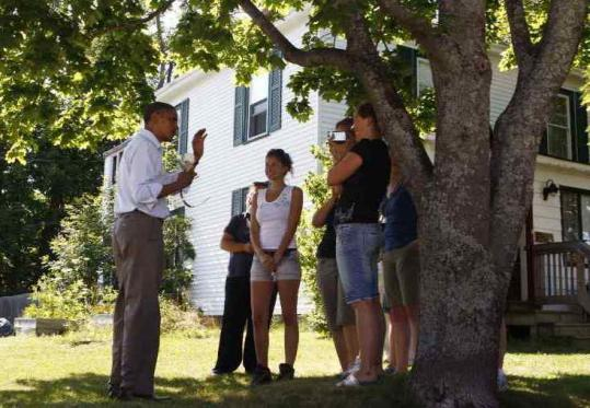 President Obama spoke to tourists in Bar Harbor, Maine, yesterday. He had gone cycling with his family along a lake.