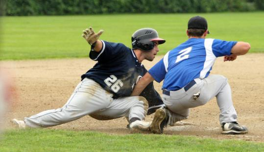 Playing for the Lexington Blue Sox, Jack Laurendeau eluded a tag and made it to third base in a game last summer against the Wakefield Merchants.