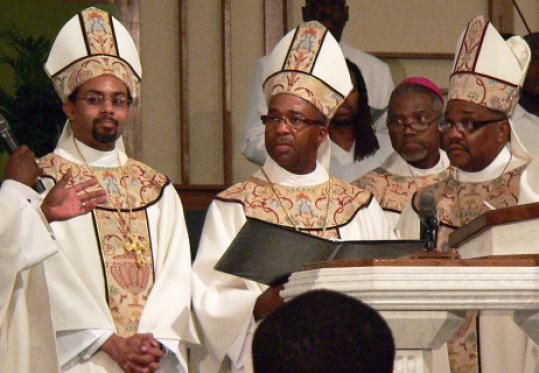 From left, Bishops Rodney S. Sampson, John M. Borders III, and Edward Stephens Jr. at Border's ordination ceremony in Memphis.