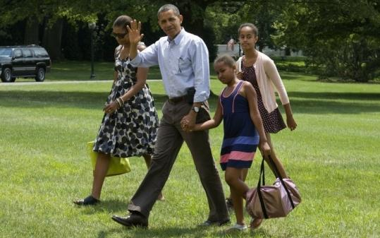 President Obama, his wife, Michelle, and daughters Sasha and Malia returned to the White House after weekending in Maine.