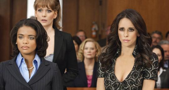 "From left: Kandyse McClure, Chelah Horsdal, Cybill Shepherd (background), and Jennifer Love Hewitt in the Lifetime movie ""The Client List.''"