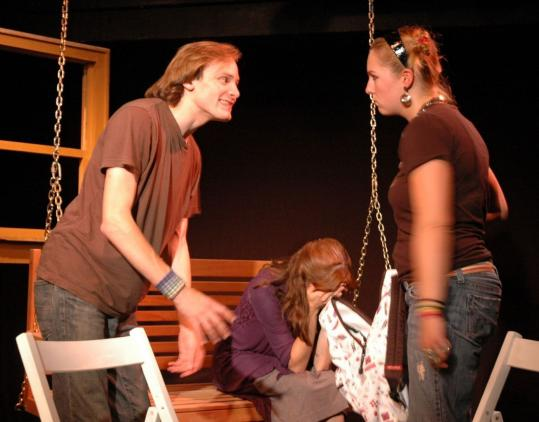 "Adam Foster (Peck), Dakota Shepard (Caitlin), and Bridget K. Doyle (Dora) in ""The Storytelling Ability of a Boy.''"