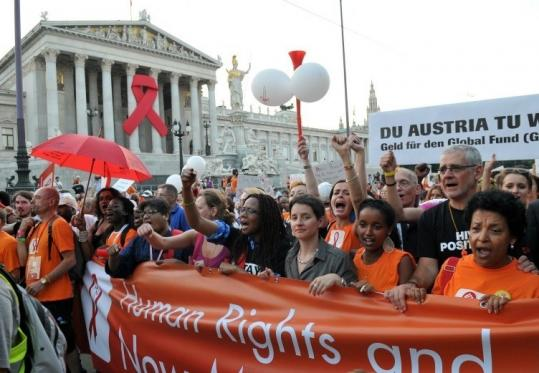 AIDS activists marched yesterday in Vienna, where the 18th International AIDS Conference is being held.
