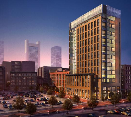 A joint venture of Archon Group and Goldman Properties is proposing to build a 21-story residential tower at 319 A St. rear (rendering above). The building would contain 184 rental apartments and four levels of above-ground parking.