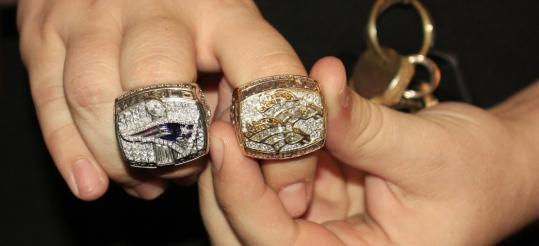 Super Bowl rings pawned by the Patriots' Brock Williams and the Broncos' Tori Noel.
