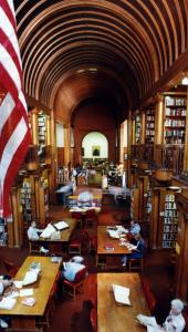Architect H. H. Richardson designed the vaulted ceiling in the book room as well as the furniture.