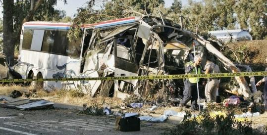 The driver and two passengers died after a Greyhound bus hit a sport utility vehicle in Fresno, Calif. Three died in the SUV.