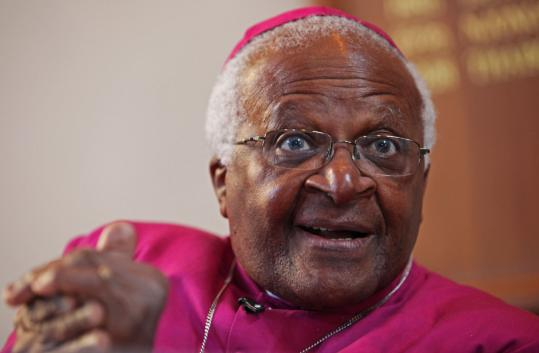 Desmond Tutu, shown in an interview yesterday in Cape Town, received the Nobel Peace Prize in 1984, and then used his new international stature to step up the campaign against apartheid.