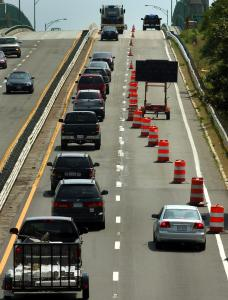 A northbound lane closure on Route 128 at the A. Piatt Andrew Bridge in Gloucester has caused traffic delays.