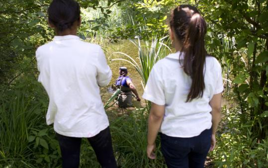 Students from the JFK Elementary School in Jamaica Plain visited the 23-acre Wakefield estate in Milton at the end of the school year to learn about science and nature, while teens (bottom right) took part in a two-week archeological dig on the property.