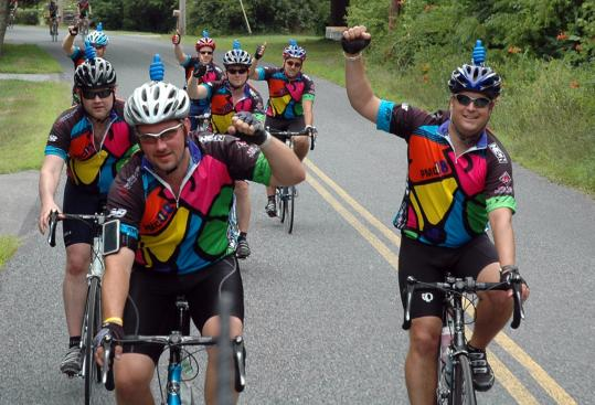 (From left), Ian O'Neal, Patrick Franklin, Mark Joseph, Paul Halayko, Mike Favaloro, and Kevin Nowak riding with Team Xaverian in the 2008 Pan-Mass Challenge.