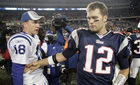 Peyton Manning (left) and Tom Brady are often connected on the field, and now are linked off it.