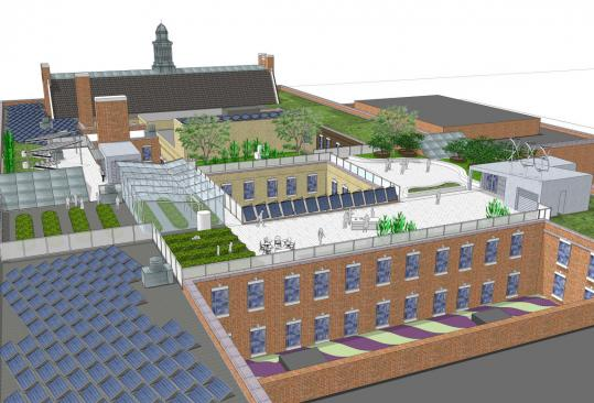 An artist's rendering of the Boston Latin School's green roof shows a new stairway and elevator, as well as a greenhouse and cafeteria. The greenhouse will be heated by solar thermal panels.