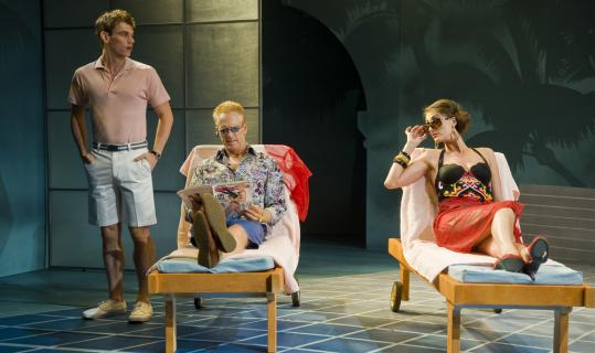 """From left: Jay Armstrong Johnson, John Hickok, and Sara Gettelfinger in """"Pool Boy'' at Barrington Stage Company's Musical Theatre Lab."""
