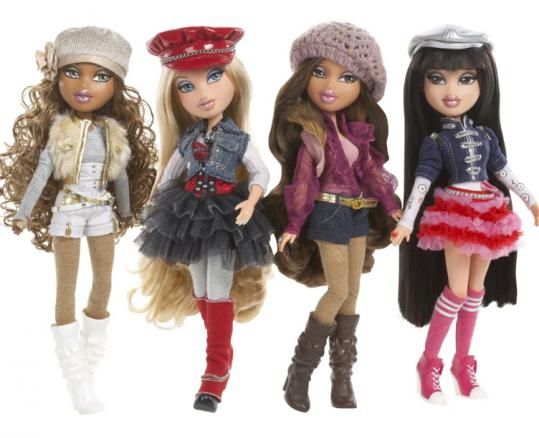 Part of the new Bratz dolls collection. The new versions have less makeup and more ample clothing.