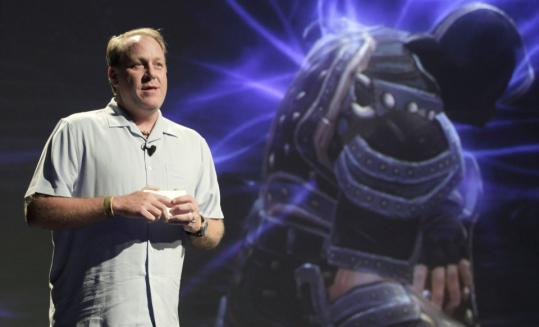 Former Red Sox ace Curt Shilling shows off Kingdoms of Amalur: Reckoning.