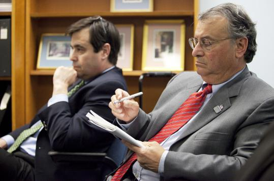 Mayor James M. Ruberto of Pittsfield (right), and ex-Red Sox general manager Dan Duquette. Duquette was found guilty on one count of conflict of interest while Ruberto was guilty on three.