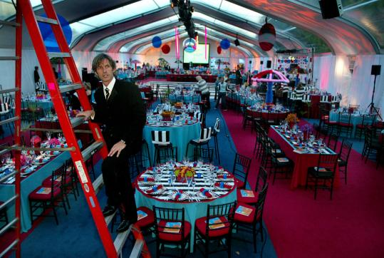 Event planner Bryan Rafanelli checked out the tent before guests arrived for Massachusetts General Hospital's Storybook Ball in Boston in 2003.