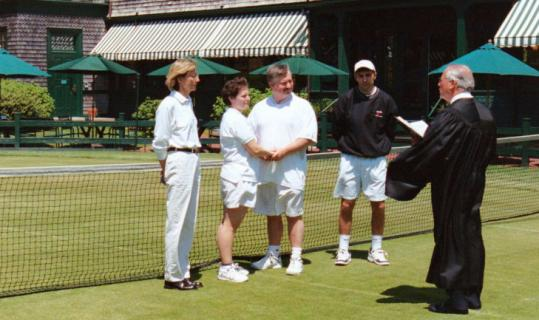 Karen and Peter Draymore were married on the grass courts of the Tennis Hall of Fame in Newport, R.I.