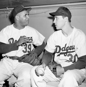 Billy Loes (right) in 1955 with his catcher, Roy Campanella.