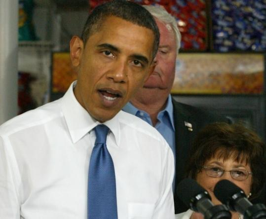 President Obama lobbied for the small-business lending bill during a trip on Wednesday to Edison, N.J.