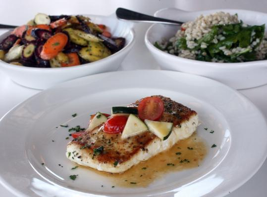 Halibut is served with plenty of salt in a lot of good browned butter, alongside tomatoes, eggplant, and squash.