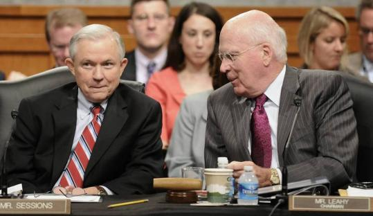 Senator Jeff Sessions (left), at a Judiciary Committee hearing last month, led GOP critics of Elena Kagan yesterday, while panel chairman, Senator Patrick Leahy, defended the nominee.