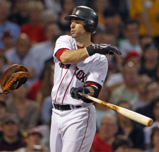 Red Sox shortstop Marco Scutaro is all crossed up after striking out in the third. He went 0 for 4 against the Indians.