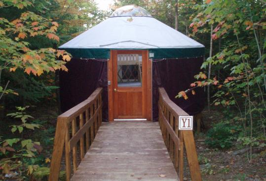 Basic but roomy yurts sleep up to six people at Milan Hill, a hillside state park in northern New Hampshire.
