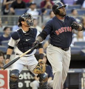 David Ortiz got to Yankees starter Javier Vazquez with a solo shot in the first inning to give the Red Sox an early lead. The Sox had six hits &#8212; and two homers &#8212; off Vazquez and knocked him out after 5 1/3 innings.
