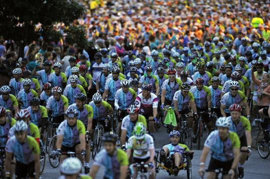 Cyclists got going at the start of the 31st annual Pan-Massachusetts Challenge in Sturbridge. The organization tallied $21 million raised by Friday, but expected to surpass the fund-raising goal of $31 million for cancer research.