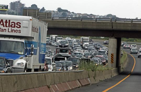 Traffic on Interstate 93 north was stop and go for miles while emergency crews scrambled to repair potholes in Medford last week.