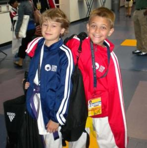 Southborough siblings Jake (left) and Malcolm Verrilli were among the Massdojo team members who returned home with medals from the USA Karate National Championships.