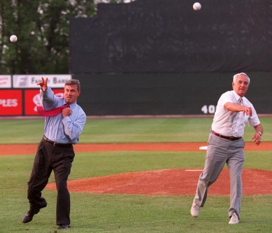 Edward A. LeLacheur (right) and Governor Paul Cellucci threw out the first pitches at the grand opening of LeLacheur Park.