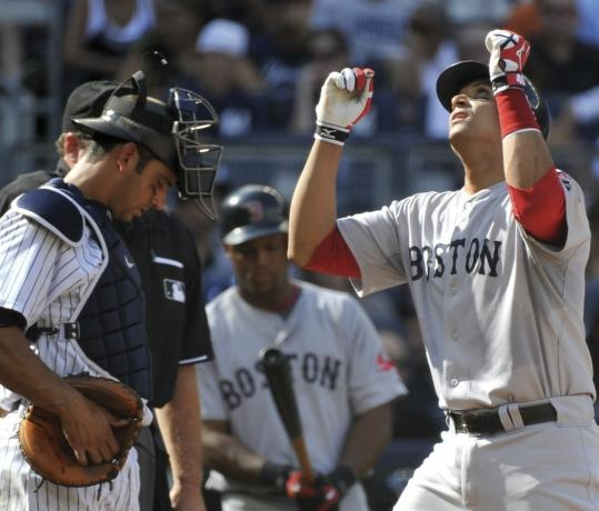 One bright spot in yesterday's loss was a home run by Sox catcher Victor Martinez (right).