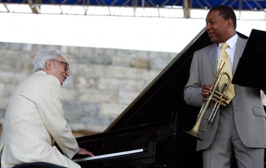 Legendary pianist Dave Brubeck (left) joined Wynton Marsalis for a few tunes yesterday.