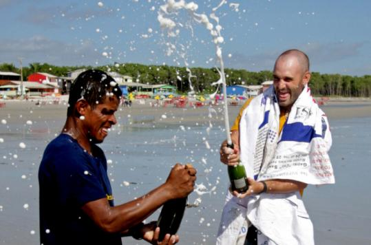 Excitement bubbled over when Ed Stafford (right) and Gadiel Sanchez Rivera arrived at the Atlantic coast in northern Brazil.
