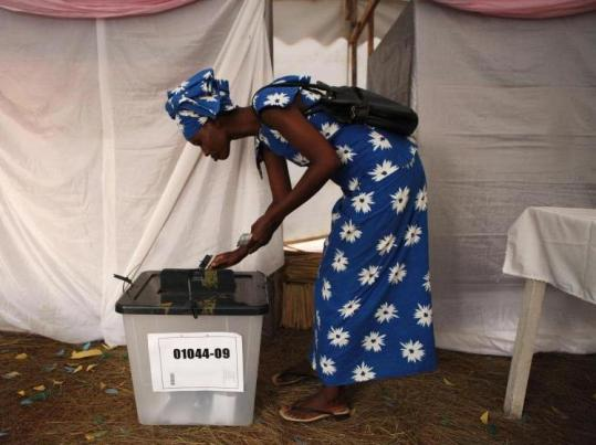 A voter cast her ballot in the capital, Kigali, during Rwanda's presidential election yesterday.