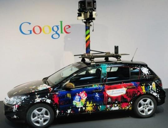 A car equipped with a camera to photograph streets was on exhibit at a high-tech fair in March in Hanover, Germany.