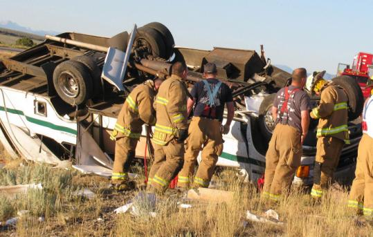 Authorities said the driver of the bus was not paying attention when he lost control Monday outside Cedar City, Utah.