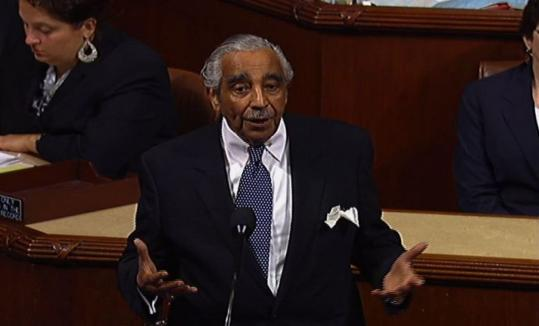 Representative Charles Rangel, shown in an image from House Television, urged the ethics panel to hold his trial quickly.