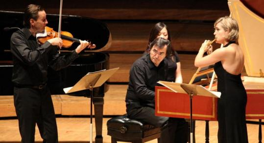 HILARY SCOTT Pianist Pierre-Laurent Aimard joined violinist Mats Zetterqvist and flutist Clara Andrada de la Calle in a performance Tuesday at Tanglewood.