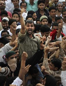 Kashmiris shouted slogans such as &#8220;Go India! Go back&#8217;&#8217; and &#8220;We want freedom&#8217;&#8217; at a protest yesterday in Srinagar, India.